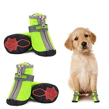 Chaussures pour Petits Chiens Imperméables Lot de 4, Bottes de Protection pour Chien Protecteur de Patte Antidérapante Réfléchissante Chaussures Chaudes pour Chiot Petits Moyens Chiens Vert 3#