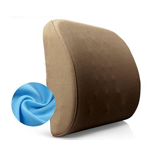 Uus Memory Foam Pillows Lent Rebond de Taille, Tampons Taille, Bureau Coussins, Coussins de siège de Voiture, Taille: 40 * 34 * 10CM (Couleur : Marron)
