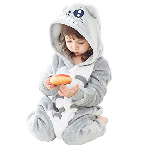 Tier Schlafanzug Kinder Mädchen der Jungen Kostüm Onesies Tier Pyjamas for Kinder Halloween, graue Katze One-Piece-Pyjamas Kinder Jumpsuits Kostüm Tier (Color : Without Shoes, Größe : 39.3)