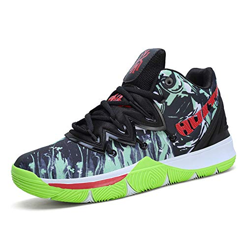 FJJLOVE Zapatos De Baloncesto Unisex, Rendimiento Absorción De Choque De Baloncesto Botas para Caminar Ocasional Tenis Deportes Entrenador De Atletismo Zapatillas De Deporte,Verde,37
