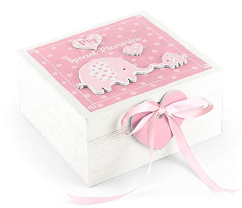 Mousehouse Gifts - Erinnerungstruhe aus Holz für Babys - Rosa Elefant