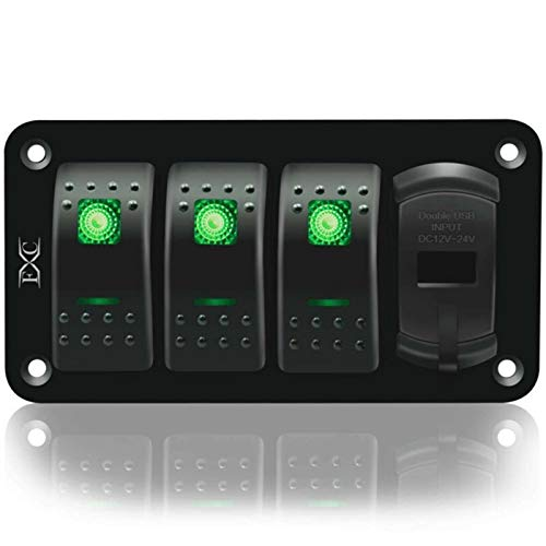 LHaoFY Accesorios de interruptores Hebilla de 4 filas Luminoso Rocker Interruptor Panel USB Coche Marine RV Camión Verde LED 12V-24V con Etiqueta Etiqueta de Tornillo