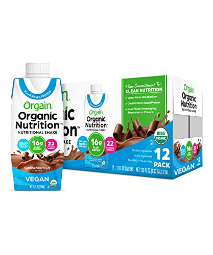 Orgain Organic Vegan Plant Based Nutritional Shake, Smooth Chocolate - Meal Replacement, 16g Protein, 21 Vitamins & Minerals, Non Dairy, Gluten Free, Lactose Free, Kosher, Non-GMO, 11 Ounce, 12 Count