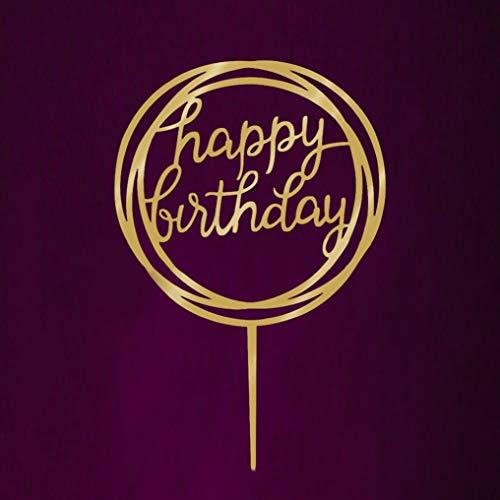 Huamaojiancai Peerless DIY Cake Topper, Golden Happy Birthday Cake Topper Acryl Cake Picks Baby Shower Party
