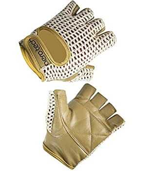 Cycling Gloves Natural Cotton Crochet and Leather Large