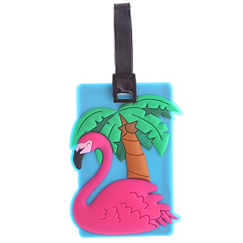 Puckator Pink Flamingo PVC Luggage Suitcase Tag Bag Identifier by Subitodisponibile, Mixed, Total Length 17cm Height 10.5cm Width 7.5cm Depth 0.5cm