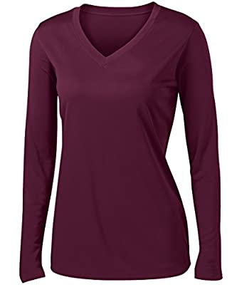 Animal Den Ladies Long Sleeve Moisture Wicking Athletic Shirts Sizes XS-4XL Maroon-S