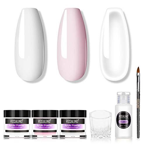 ROSALIND Acrylpulver Set mit Flüssigkeit, 3 Farben, transparent, rosa, weiß und ein flüssiger Monomer, Nagelkunst-Pulver für Acrylnägel