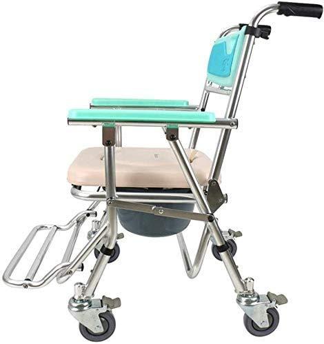 Mobiler Toilettenstuhl aus Edelstahl, verstellbar, zusammenklappbar, für Nachttisch, Toilettenstuhl, Rollstuhl, medizinisches Zubehör für Erwachsene