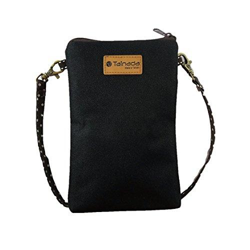 Tainada Cross-Body-Phone Tasche für Damen, Universal Umhängetasche Travel Dual Reißverschluss Geldbörse Tasche mit Abnehmbarer Schulterriemen für iPhone 8Plus, X, Samsung S9, S9+ Note 8, schwarz
