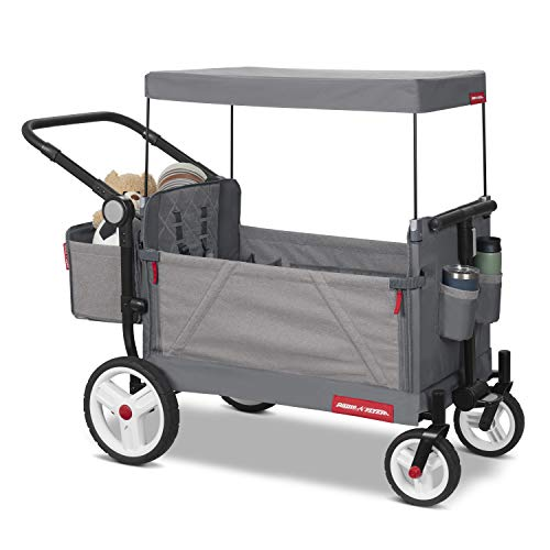 Radio Flyer Odyssey Stroller Wagon, Baby Stroller Wagon with Canopy and Bag, Grey