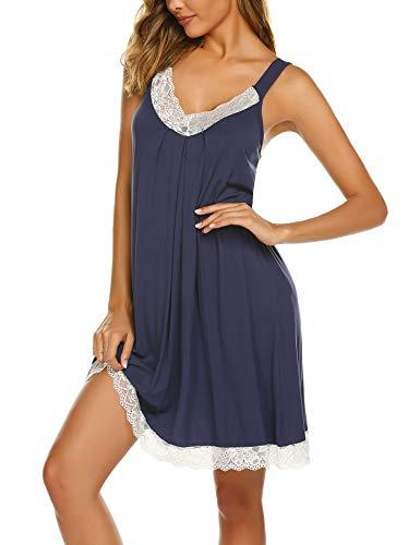 Ekouaer Chemise Women Cotton Nightgown Deep V Neck Sleepwear Lace Lingerie Jersey Loungewear Navy Blue