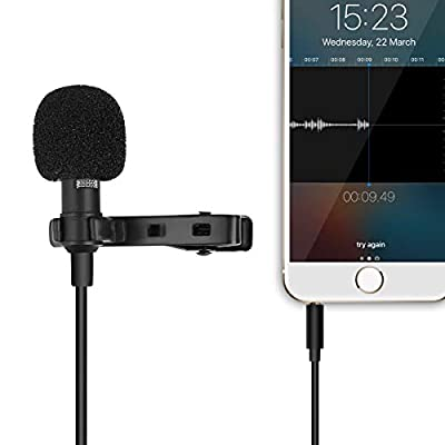 Mobile phone Condenser Microphone Professional Mini Lapel Noise Cancelling Mic Lavalier Lapel Omnidirectional Condenser Mic for IPhone Android Tablet Youtube,Interview,VideoRecording With1.5M Cable