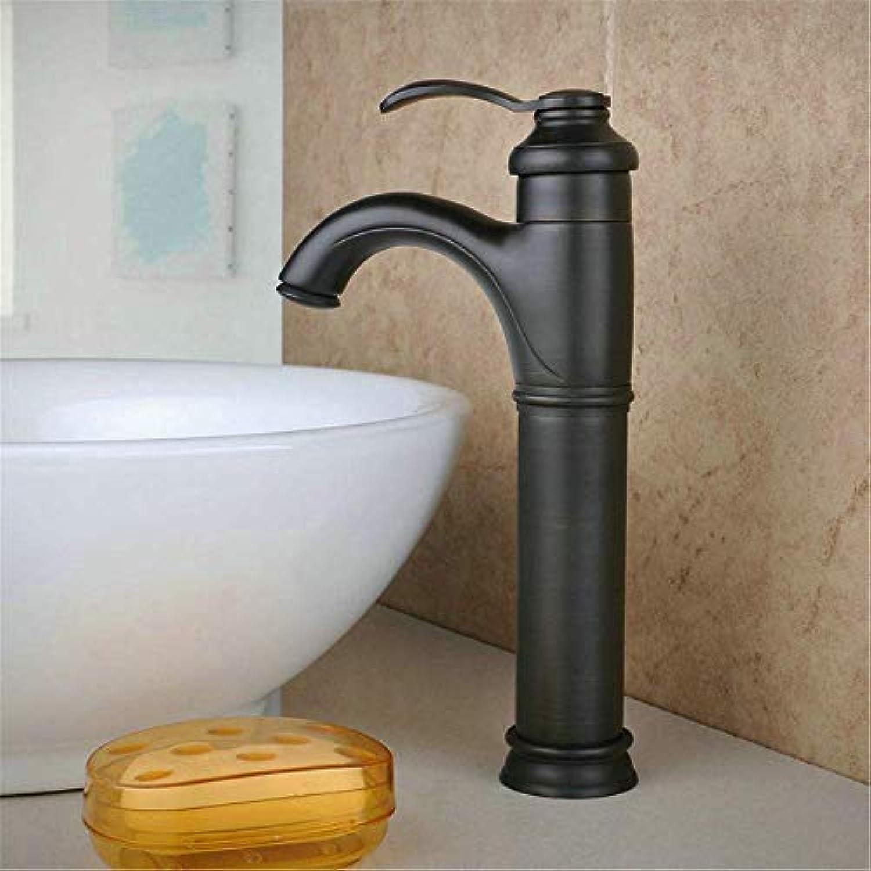 Badezimmer-Küche-Wannen-Hahn, Schwarz Lang Bronze Klassische Teekanne Design-Waschbecken Badezimmer-Hahn-heie und kalte Misch Mixer.