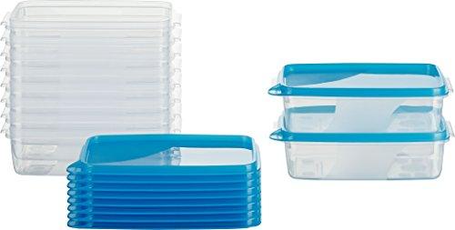 MiraHome Frischhaltedose Gefrierbehälter 0,5l rechteckig flach 15x10x5cm 10er Set blau Austrian Quality