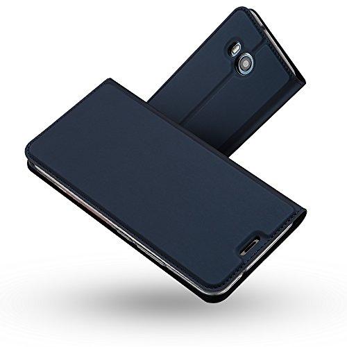 RADOO HTC U11 Lederhülle, Premium PU Leder Handyhülle Brieftasche-Stil Magnetisch Folio Flip Klapphülle Etui Brieftasche Hülle [Karte Halterung] Schutzhülle Tasche Case Cover für HTC U11 (Blau)