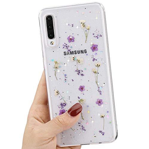 L-FADNUT Getrocknete Blume hülle für Samsung Galaxy S10 Funkeln Hülle Mädchen Silikon Stoßfest Klar Blumen Niedliche Hülle für Samsung Galaxy S10 -Lila