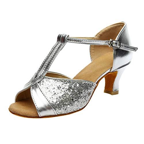 Zapatos Mujer Tacon Fiesta,LANSKIRT Sandalias de Vestir Mujeres Zapatos de tacón para niñas Fiesta de Color para Mujer Rumba Waltz  Chanclas Salón de Baile Latino Salsa Sandalias (34, Plata 01)