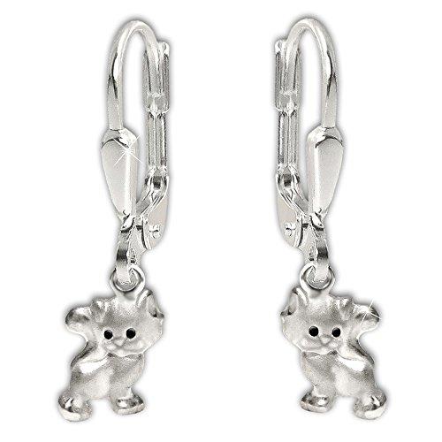 Clever Schmuck Silberne kleine Kinder Ohrhänger 21 mm mit Mini Katze 6 mm Augen schwarz, matt und glänzende Optik STERLING SILBER 925
