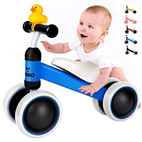 CRZKO Kinder Laufrad, Kleinkind Balance Fahrrad Kinder Laufrad ab 1 Jahr Lauflernrad mit 4 Räder ohne Pedal für 10-24 Monate Jungen und Mädchen als Geschenk.