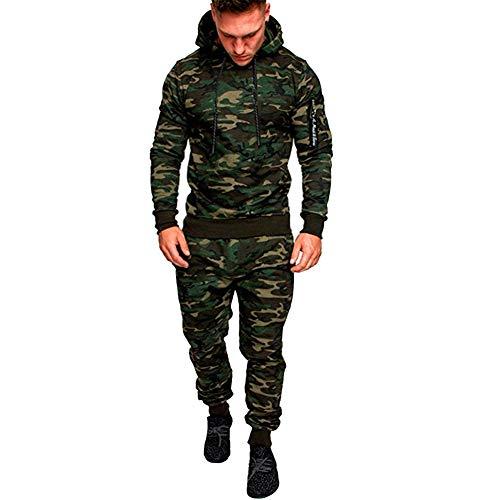 GUOCU Tuta Uomo Felpa Pantaloni Felpati Militare Mimetica Cappuccio Zip Sportiva Verde XL