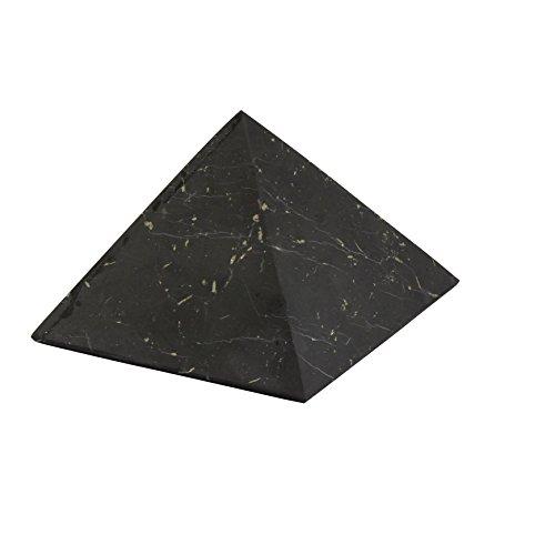 Heka Naturals Pirámide de Shungita Sin Pulir 8 cm con Fullerenos | Auténtica Piedra Shungita de Karelia, Rusia | Pirámide Sin Pulir de 8 c