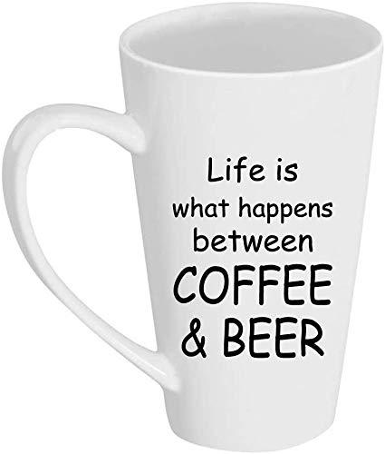 SanJIUCOM La Vida es lo Que Sucede Entre café y Cerveza Taza de café con Leche de 17 oz