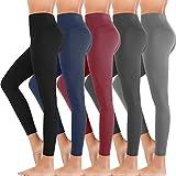 5 Pack Premium Women's Leggings Soft High Waist Slimming Leggings Tummy Control Workout Yoga Pants (One Size, 5 Pack - Black/Light Gray/Navy/Dark Gray/Burgundy)