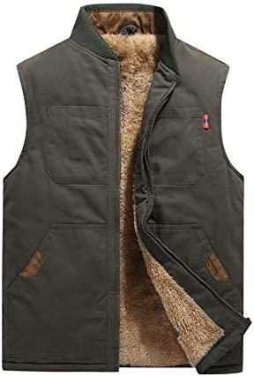 LYLY Vest Women Autumn Winter Men Vest Coat Warm Sleeveless Jacket Casual Men Vest Coat Fleece Army Green Waistcoat Big Size 6XL Vest Warm (Color : Army Green Plus, Size : M)