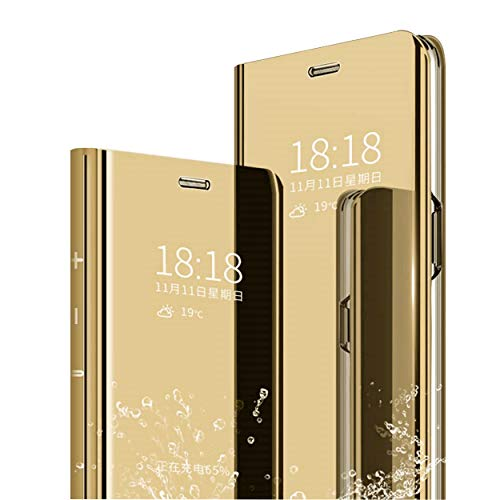 MLOTECH Compatibile Cover Samsung A20e,Custodia + Vetro temperato Flip Traslucido Clear View Specchio Standing Cover Anti Shock Placcatura Smart Cover Custodia Protezione d'oro