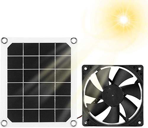 J & J Pannello Solare di Scarico del Ventilatore, da Esterno IP65 Impermeabile di Scarico Ventilatore Solare, Ventilatore Portatile di Scarico per Camper, Serre, Pet Case, Chicken House