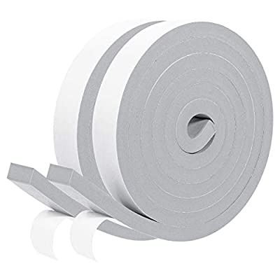 Gray Foam Weather Stripping- 2 Rolls, 1 Inch Wide X 3/8 Inch Thick Foam Strips with Adhesive Soundproofing Door Insulation Weather Stripping, 2 X 6.5 Ft, Total 13 Feet