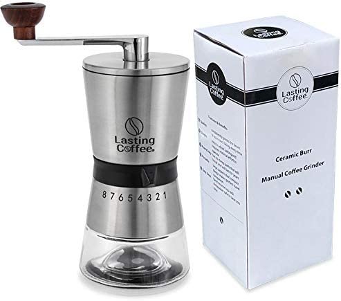 Lasting Coffee Manual Coffee Grinder Premium Stainless Steel Conical Ceramic Burr Whole Bean product image