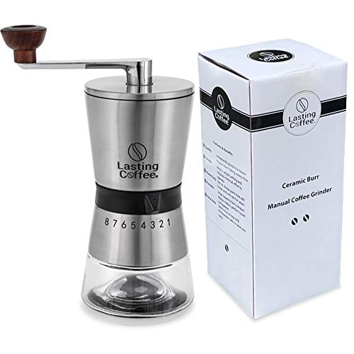 home coffee grinders Lasting Coffee Manual Coffee Grinder | Premium Stainless Steel Conical Ceramic Burr Whole Bean Hand Mill with Adjustable Settings | Portable Hand Crank Grinder