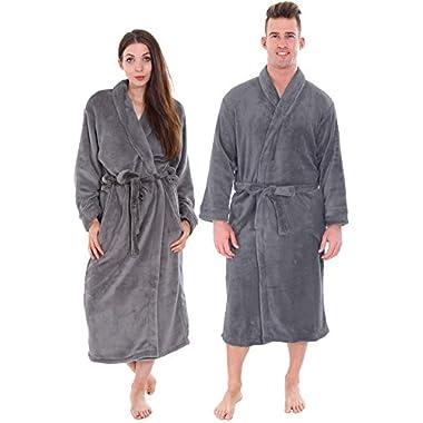 Plush Spa Bath Night Robe w/Two Side Pockets Unisex, Steel Grey, 2 PC Wholesale