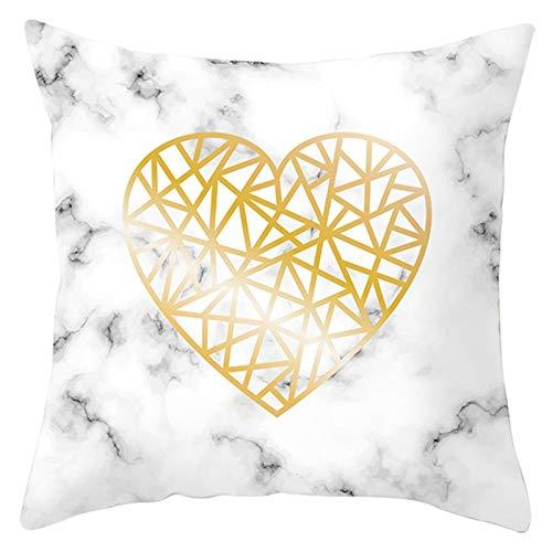 Socoz Funda de cojín navideña, de poliéster, modelo de mármol del corazón, amarillo, blanco y gris