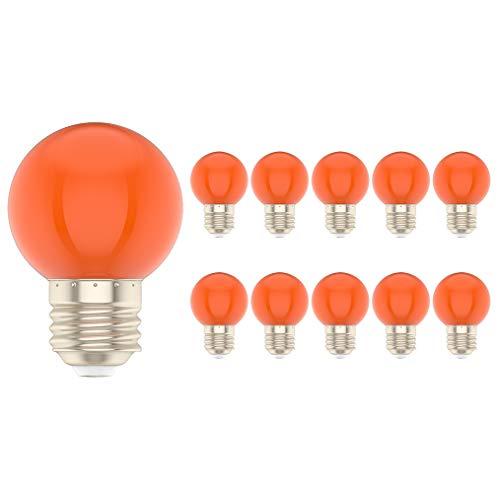 10X E27 LED Orange 1W Bunte Glühbirnen 100LM Energie Sparen Bunte Birnen PC Material Geeignet für die Dekoration AC220V-240V