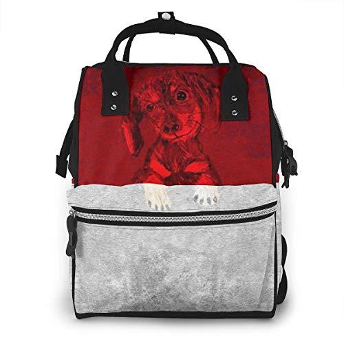 GXGZ Style rétro Indonésien Glorious Flag Sac à dos imperméable à couches, compartiment avec deux poches et huit rangements, sacs d'allaitement élégants et durables pour les parents