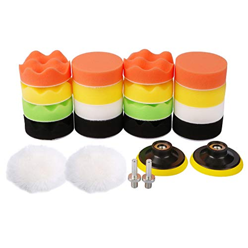 Makitoyo 3-inch Car Foam Drill Polishing Pad Kit for Car Sanding, Buffing, Polishing, Waxing, Sealing Glaze (18 Pads+2 Drill Adapters+2 Suction Cups), 22pieces 3-inch Buffing Pad Set