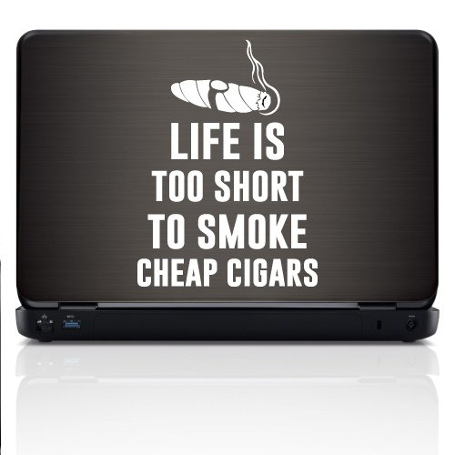 White Ink Decals Life is Too Short to Smoke Cigars Vinyl Decal Sticker for Car Truck Laptop