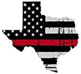 Texas Tattered Thin red line 3.9x4.1 inches Flag Honoring Our Men & Women of Law Enforcement and Fire Fighters USA America Flag Symbol Sticker Decal die Cut Vinyl - Made and Shipped in USA