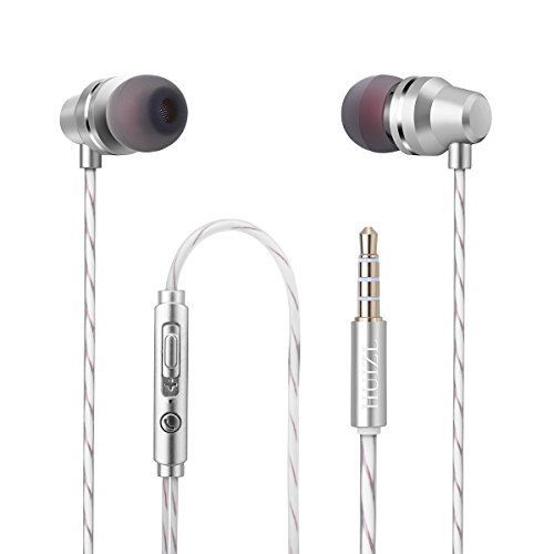 Earphones Earbuds In ear Headphones Wired earphone Microphone Bass Stereo Sports Running Noise-isolating with Mic For IPhone IPad Android Mp3 mp4 Player Tablet 3.5mm Audio Jack Silver White