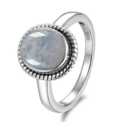 Nueva Moda 8x10 MM piedras lunares naturales Anillos Women'sRing regalos al por mayor de alta calidad de la bella de la vendimia