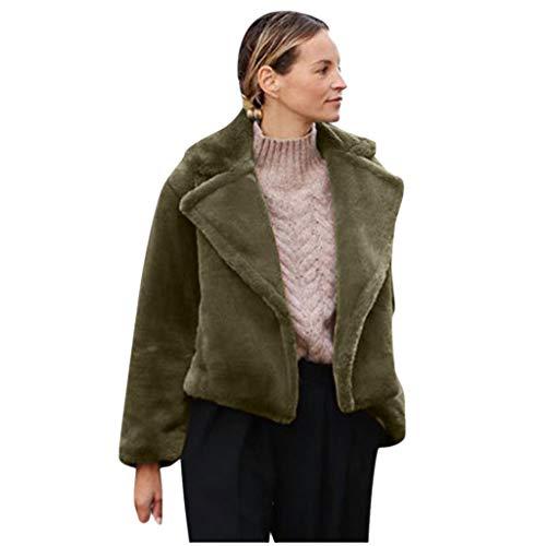 PKTOP Damen Casual Kunstpelz Jacke Winter Warm Parka Outwear Damen Mantel Kurz Mantel Gr. 36, armee-grün