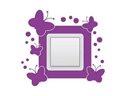 Wandtattoo Lichtschalter Steckdosentattoo Schmetterlinge Nr 1 Wandschalter Aufkleber Farbe Lindgrün, Größe 29x15 cm | dreier Querformat