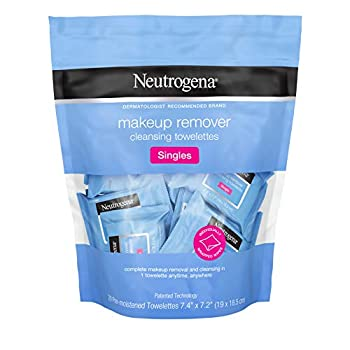 Neutrogena Makeup Remover Cleansing Towelette Singles Daily Face Wipes to Remove Dirt Oil Makeup & Waterproof Mascara Individually Wrapped 20 ct  Pack of 3