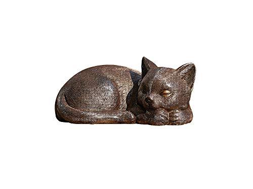 Roman Garden - Bronze Sleeping Cat Statue, 3.5H, Garden Collection, Resin and Stone, Decorative, Garden Gift, Home Outdoor Decor, Durable, Long Lasting
