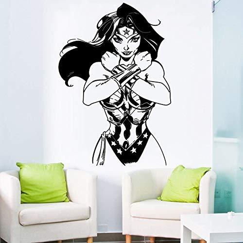 wZUN Wandaufkleber Vinyl Aufkleber Heldinnen Comics Helden Cartoon Kinder Mädchen Zimmer Haus Dekoration Design Wandbild 63x91cm