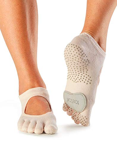 Toesox Full Toe Plie Calcetines de Yoga, Unisex Adulto, Beige (Sweetpea), XS