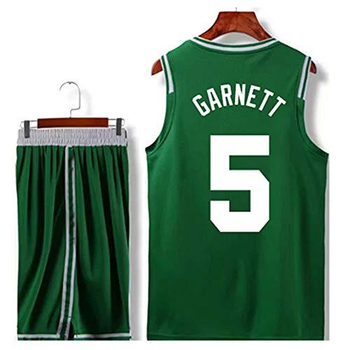 Boston Celtics Kevin Garnett # 5 Jersey Shorts - Ärmelloses Set, Herren Trikot, Basketballuniform Für Jungen Unisex Basket Suit T-Shirt Genähte Buchstaben (A,6XL)
